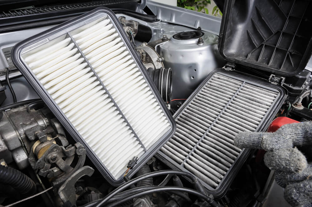 Position of oil filter in a car